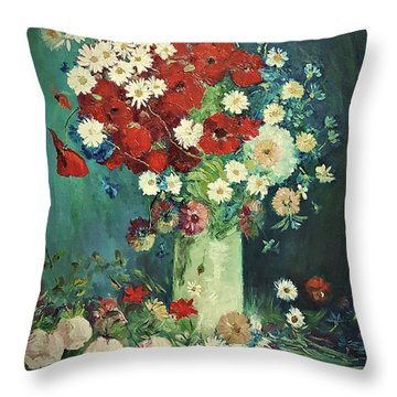 Interpretation Of Van Gogh Still Life With Meadow Flowers And Roses Throw Pillow
