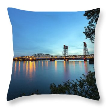 Interstate Bridge Over Columbia River At Dusk Throw Pillow by David Gn