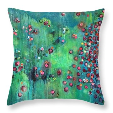 Throw Pillow featuring the painting Interstellar, I Want To Paint It Black by Laurie Maves ART