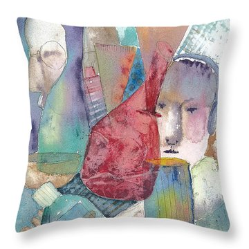 Intervention In Abstract Throw Pillow by Arline Wagner
