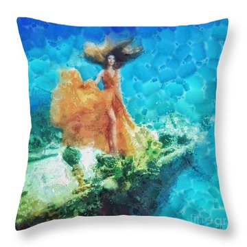Into Deep Throw Pillow by Mo T