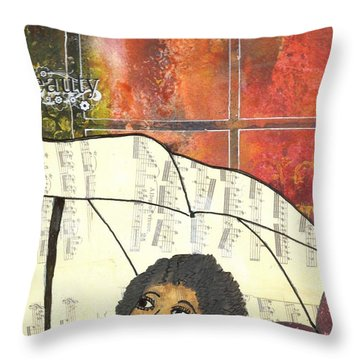 Into Every Life Some Rain Must Fall... Sing Anyway Throw Pillow by Angela L Walker