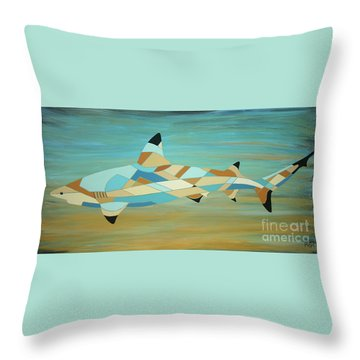 Into The Blue I Shark Painting Throw Pillow