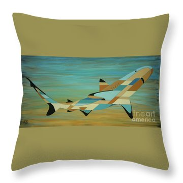 Into The Blue Shark Painting Throw Pillow
