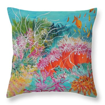 Throw Pillow featuring the painting Feeding Time # 3 by Lyn Olsen