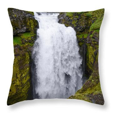 Into The Depths - Waterfall On Iceland's Fimmvorduhals Trail Throw Pillow