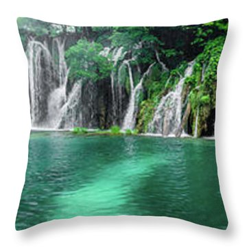 Into The Waterfalls - Plitvice Lakes National Park Croatia Throw Pillow
