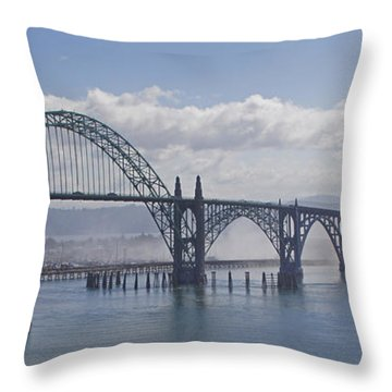Into The Fog At Newport Throw Pillow
