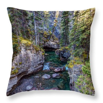 Into The Heart Of Maligne Canyon Throw Pillow