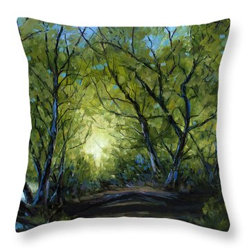 Throw Pillow featuring the painting Into The Light by Billie Colson
