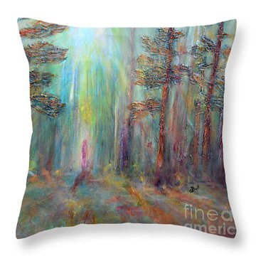 Into The Light Throw Pillow by Claire Bull