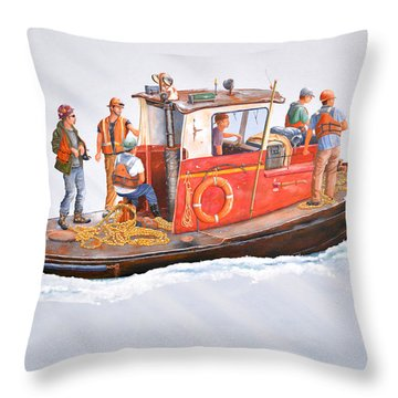 Into The Mist-the Crew Boat Throw Pillow