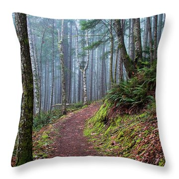 Into The Misty Forest Throw Pillow