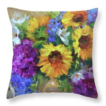 Into The Sky Sunflowers Throw Pillow by Nancy Medina