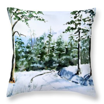 Into The Snowy Woods Throw Pillow