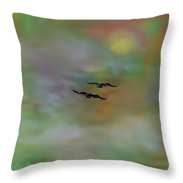 Throw Pillow featuring the painting Into The Sunset by Kevin Caudill