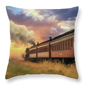 Throw Pillow featuring the mixed media Into The Sunset by Lori Deiter