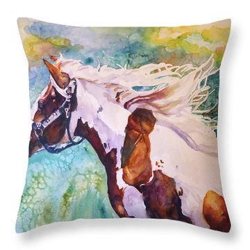 Throw Pillow featuring the painting Into The Wind by P Maure Bausch