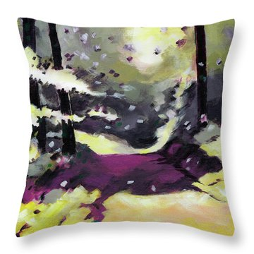 Throw Pillow featuring the painting Into The Woods 2 by Anil Nene