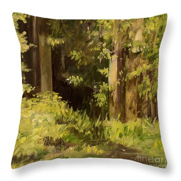 Throw Pillow featuring the painting Into The Woods by Laurie Rohner