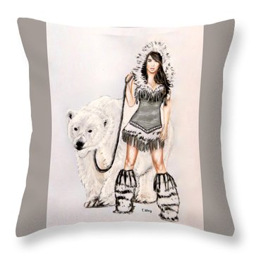 Inuit Pin-up Girl Throw Pillow