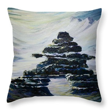 Inukshuk Throw Pillow by Joanne Smoley