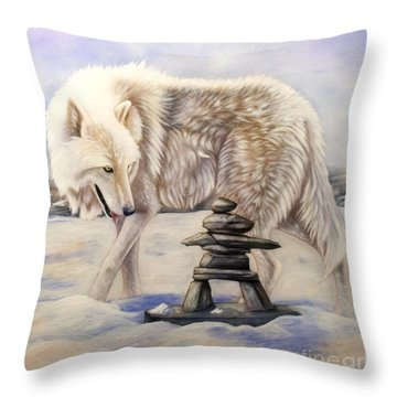 Inuksuk Throw Pillow by Sandi Baker