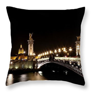Throw Pillow featuring the photograph Invalides At Night 1 by Andrew Fare