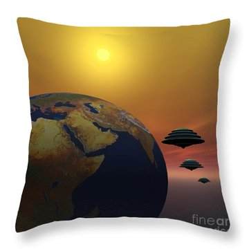Invasion Throw Pillow by Corey Ford