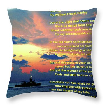 Invictus By William Ernest Henley Throw Pillow