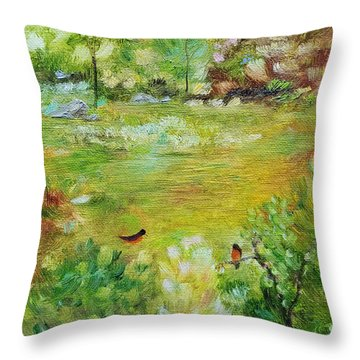 Throw Pillow featuring the painting Invincible Spring by Judith Rhue