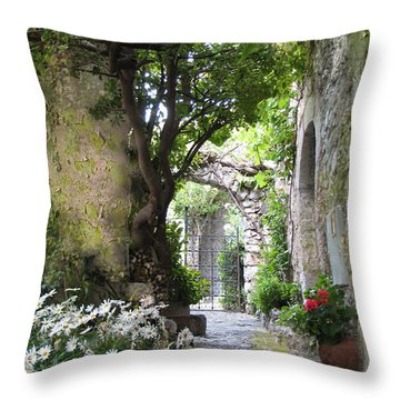 Inviting Courtyard Throw Pillow by Carla Parris