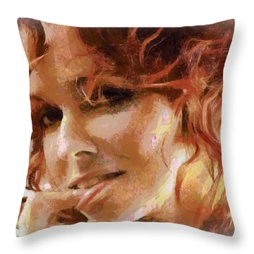 Throw Pillow featuring the digital art Inviting Smile by Gun Legler