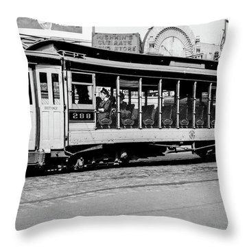 Throw Pillow featuring the photograph Inwood Crosstown Trolley  by Cole Thompson