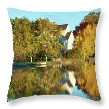 Iola Mill Fall View Throw Pillow