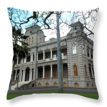 Throw Pillow featuring the photograph Iolani Palace, Honolulu, Hawaii by Mark Czerniec