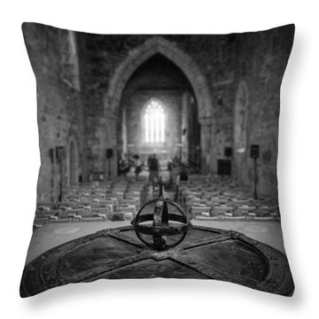 Throw Pillow featuring the photograph Iona Abbey Interior by Ray Devlin