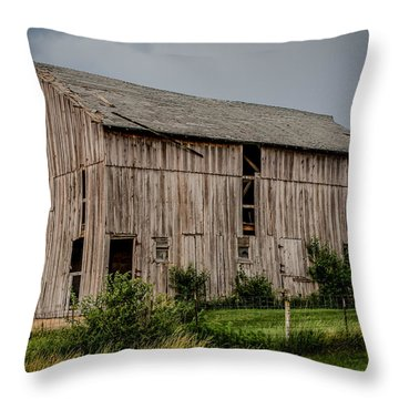 Throw Pillow featuring the photograph Iowa Barn by Ray Congrove