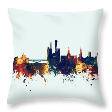 Throw Pillow featuring the digital art Iowa City Iowa Skyline by Michael Tompsett