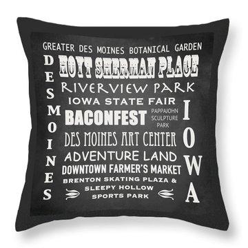 Iowa Famous Landmarks Throw Pillow