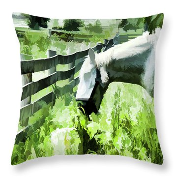 Throw Pillow featuring the digital art Iowa Farm Pasture And White Horse by Wilma Birdwell