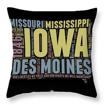 Iowa Word Cloud 1 Throw Pillow