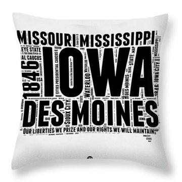 Iowa Word Cloud 2 Throw Pillow