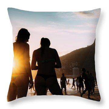 Ipanema, Rio De Janeiro, Brazil At Sunset Throw Pillow