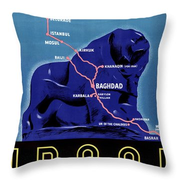Iraq Vintage Travel Poster Restored Throw Pillow