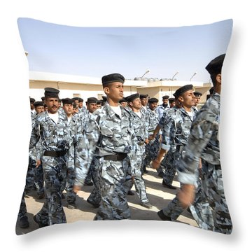Iraqi Police Cadets Being Trained Throw Pillow by Andrew Chittock