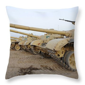 Iraqi T-72 Tanks From Iraqi Army Throw Pillow by Stocktrek Images