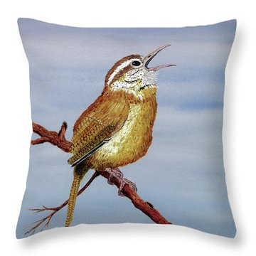 Throw Pillow featuring the painting Irate Wren by Thom Glace