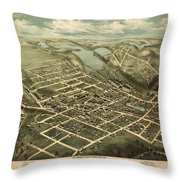 ird's eye view of Clinton, Mass. Throw Pillow