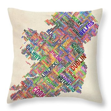 Ireland Eire City Text Map Derry Version Throw Pillow